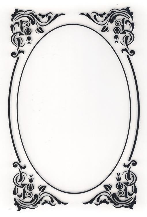 Nellie's Choice Embossing Folder - Decorative Oval Corner
