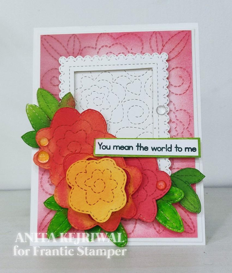 Frantic Stamper Precision Die - Stitched Rose Swirl Background