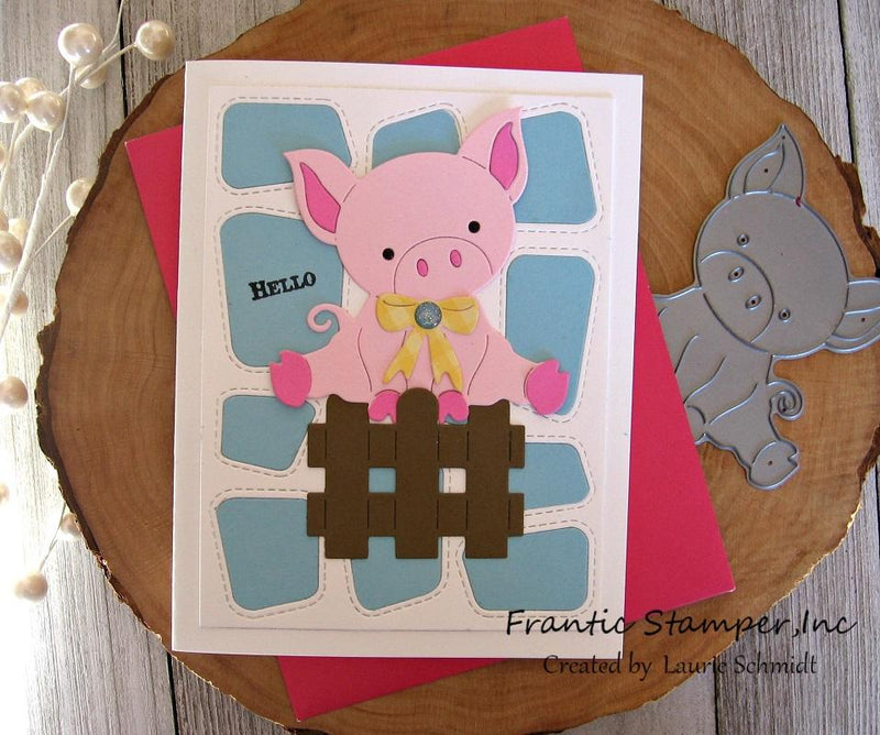 Frantic Stamper Precision Die - Cute Piglet in a Pen