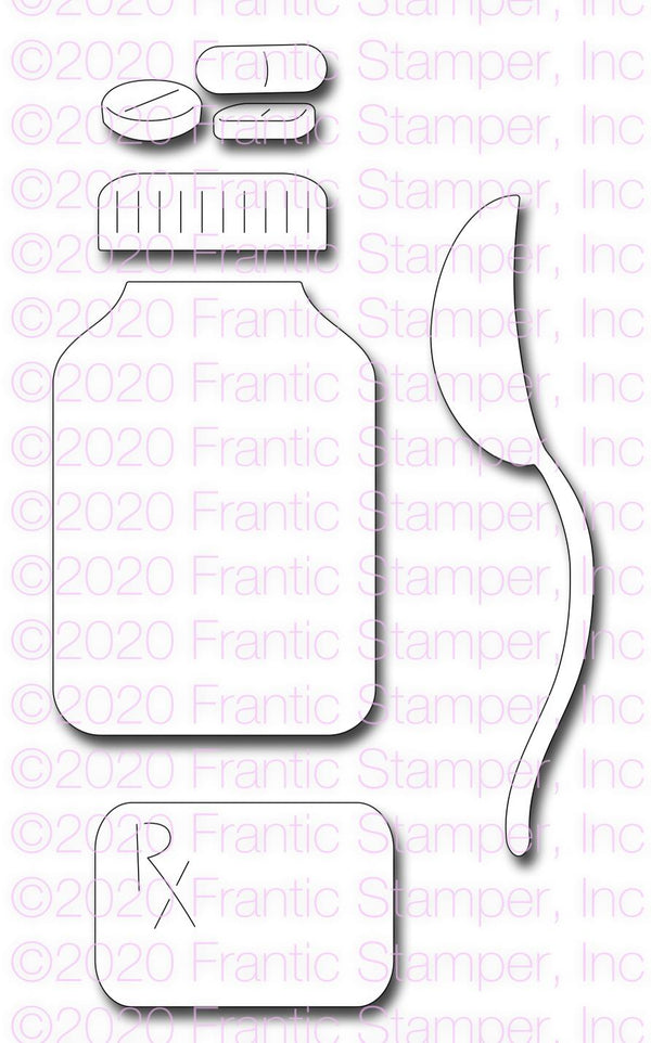 Frantic Stamper Precision Die - Shaker Medicine bottle and spoon