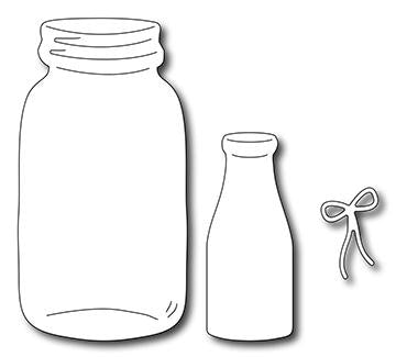 Frantic Stamper Precision Die - Milk Bottle & Mason Jar (set of 3 dies)