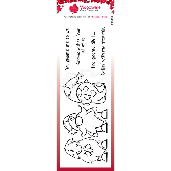 Woodware Clear Singles Three Gnomes 8 in x 2.6 in stamp