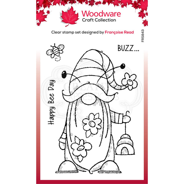Woodware Clear Singles Bee Gnome 4 in x 6 in Stamp