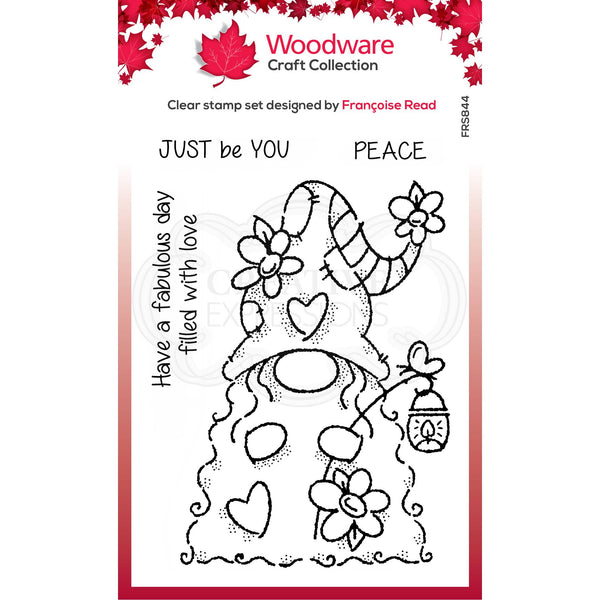 Woodware Clear Singles Flower Power Gnome 4 in x 6 in Stamp