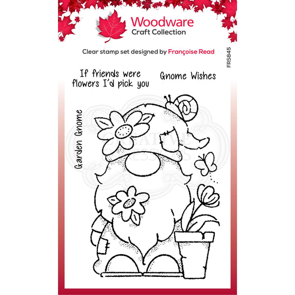 Woodware Clear Singles Garden Gnome 4 in x 6 in Stamp