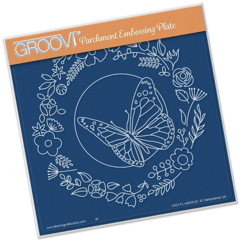 Groovi Butterfly Wreath A5 sq.