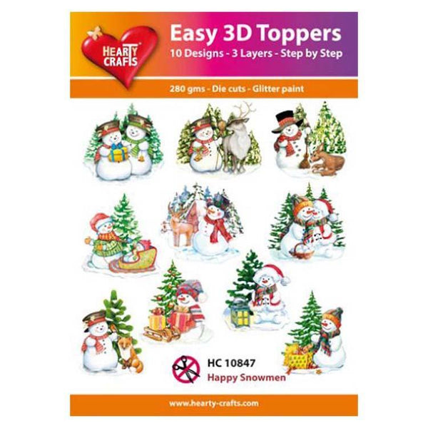 Hearty Crafts Easy 3D Toppers Happy Snowmen