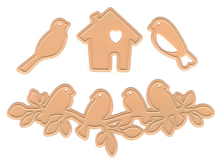 "Nellie's Choice - Hobby Solutions Die Cut  ""Birds,Branch,Birdhouse"""