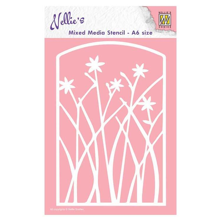 Nellie's Choice A6 Mixed Media Stencil Frame with Flowers