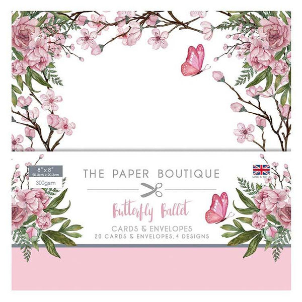 The Paper Boutique Butterfly Ballet 8x8 Card & Envelope Pack