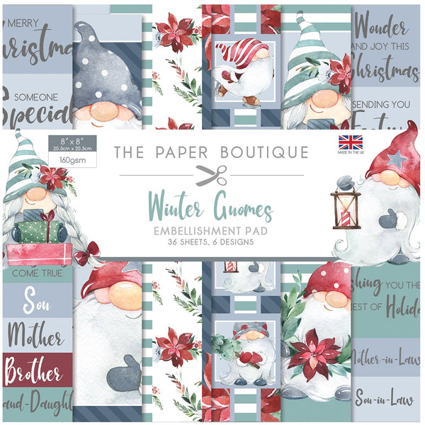 The Paper Boutique Winter Gnomes 8x8 Embellishments Pad