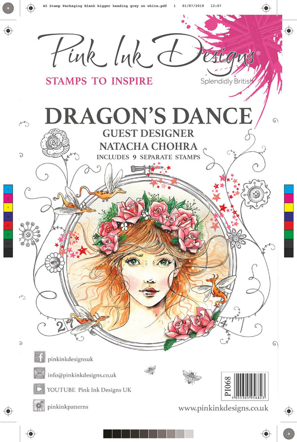 Guest Designer Natacha Chohra Dragon's Dance A5 Clear Stamp Set