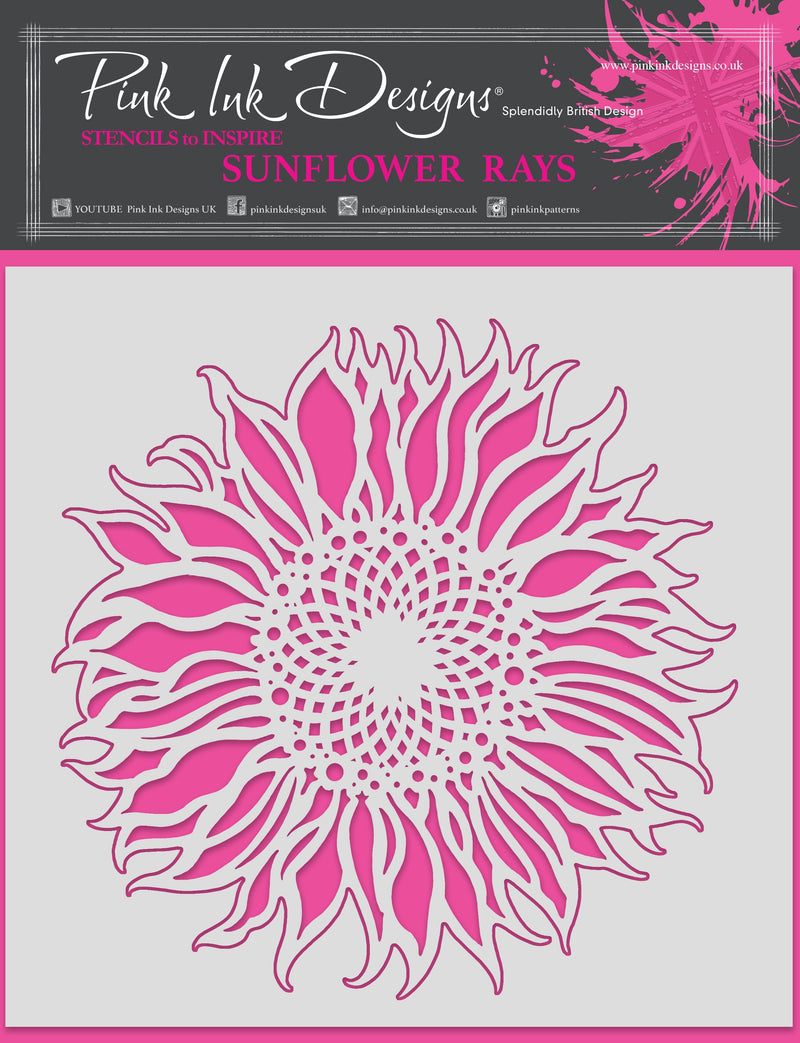 Pink Ink Designs Sunflower Rays 8 in x 8 in Stencil