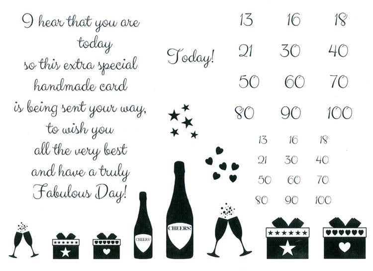Sentimentally Yours  Clear Stamp - Elegant Milestone Birthday Verse & Extras