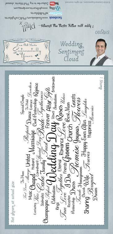 Sentimentally Yours Wedding Sentiment Cloud 4 x 8 Rubber Stamp