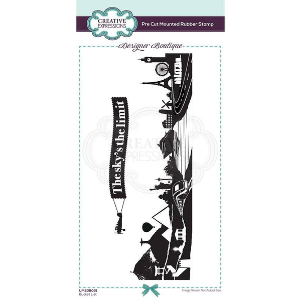 Creative Expressions Designer Boutique Collection Bucket List DL Pre Cut Rubber Stamp Set of 2