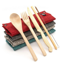 Load image into Gallery viewer, Jungle Straws Zero Waste Bamboo Cutlery Set