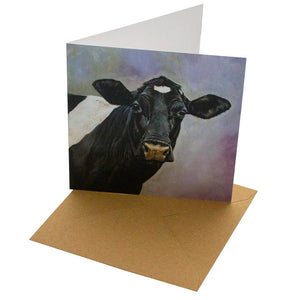 Oil Friesian Cow 148mm Square Card (blank inside) by Sophie Botsford