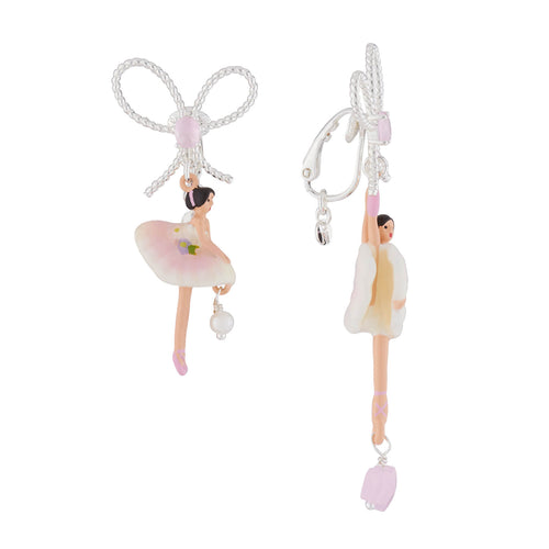 Les Nereides Pink and White Ballerina Clip-on earrings レネレイド ピンクと白のバレリーナのイヤリング