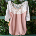 Luckyleo ACORN DUSTY ROSE & WHITE LACE 3/4 SLEEVE ラッキーレオ エコー レオタード