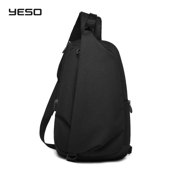 "YESO Fashion Crossbody Bags with USB Sling Chest Bag Waterproof Lightweight Shoulder Bag Casual Daypacks Fit 9.7"" IPad"