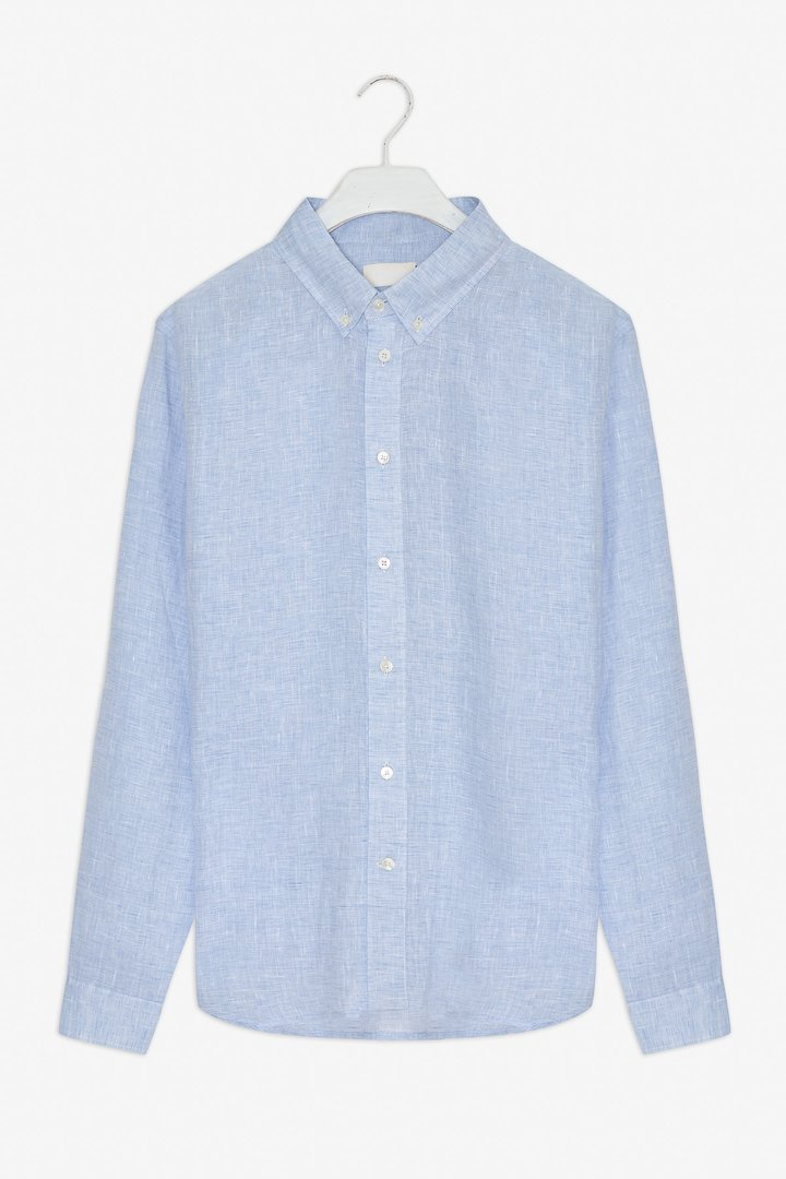 Frisur Ken Shirt Melange blue Linen / men