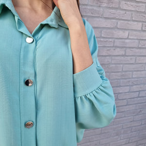 Shirt dress with gold buttons - ocean wave