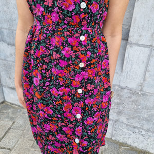 Mila bright purple / pink flowers dress