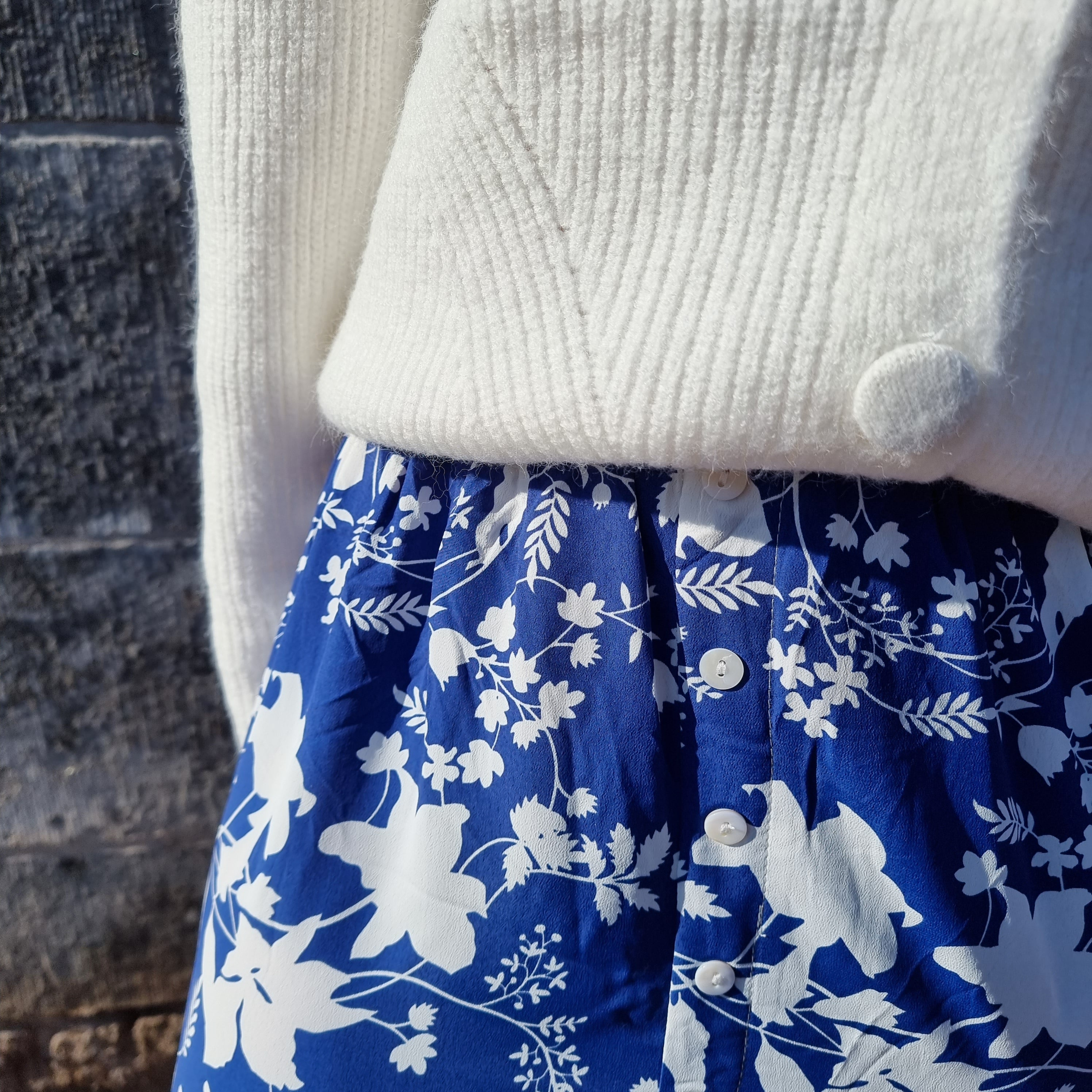 Blue maxi skirt white flowers