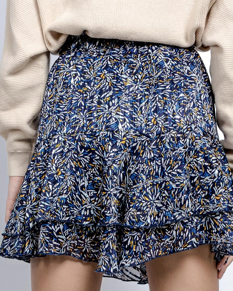 Blue printed skirt