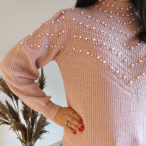 Pink sweater - pearls