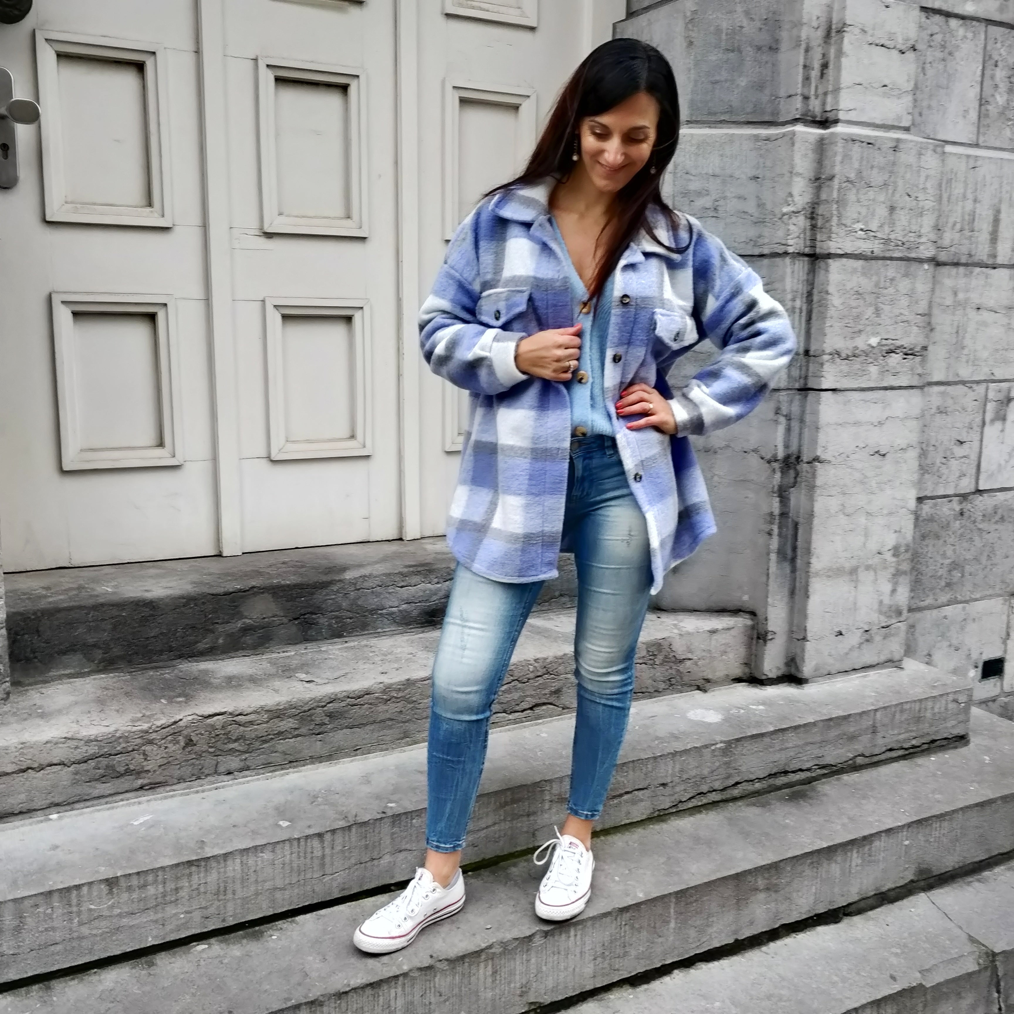 Checkered jacket - blue / lila