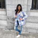 Afbeelding in Gallery-weergave laden, Checkered jacket - blue / lila