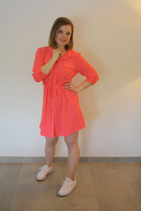 Sienna shirt dress - coral
