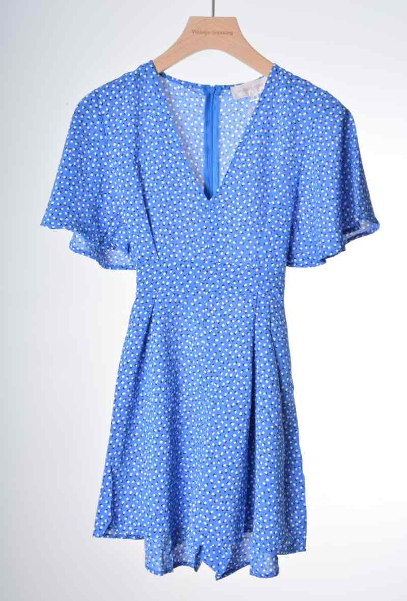 Blue dotted playsuit