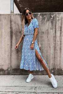 Esmee dress short sleeves - light blue