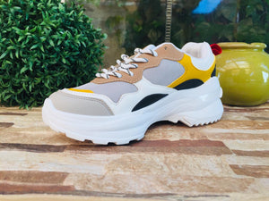 Zapatilla chunky White-yellow 033