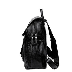 black backpack with two large compartments