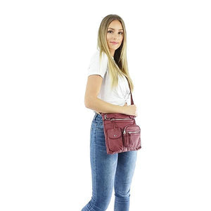Burgundy red multi pocket crossbody vegan leather bag
