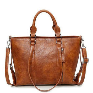 Brown vegan leather crossbody tote bag