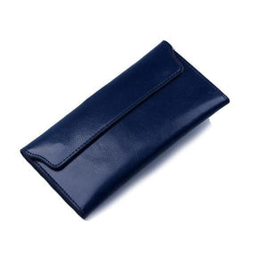 Blue women's wallet with removable card holder