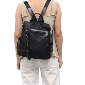 Black leather backpack with shoulder strap for womens
