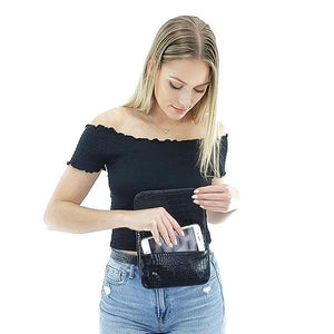 Black leather fanny pack can hold large cell phone