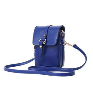 Blue phone purse with 2 zipered pocket compartments