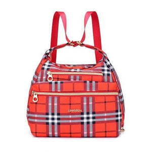 red grid nylon crossbody convertible bag