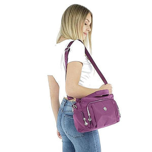 Crossbody nylon shoulder bag multiple pocket purse, Black, Blue, Purple, Pink, Burgundy