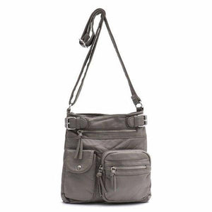 Gray vegan leather crossbody bag