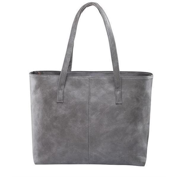 Gray leather tote bag with zipper