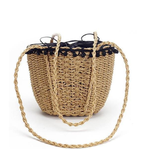 Beach straw bucket bag with drawstring