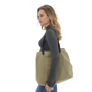Large canvas tote bags with triple compartment, Black, Brown, Khaki, Wine red